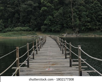Wooden bridge on the river with a beautiful view and green
