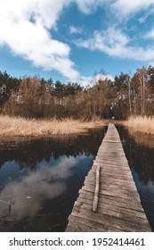 Wooden bridge on Siemianowka Lake