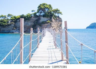 Wooden bridge on the small island of Cameo in Greece