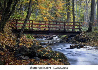 A wooden bridge on a small river. Autumnal colorful leaves. Tourist trail through the Racławka valley in Poland.