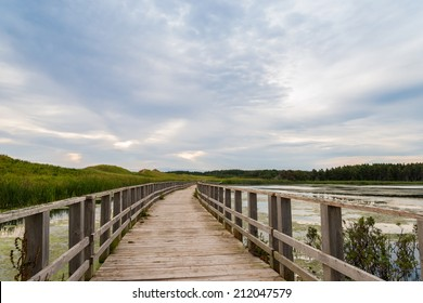 A wooden bridge over a marsh in the Cavendish Dunelands (Green Gables Shore, Prince Edward Island, Canada)