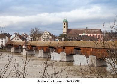 Wooden bridge over the Rhine river