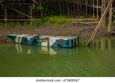 Wooden bridge over the river and boat in the Bakhawan eco-park, Panay island, Philippines.