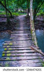 Wooden bridge over the river, Trang, Thailand