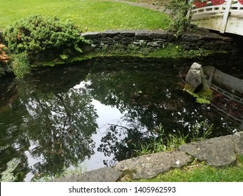 wooden bridge with reflective water in pond or stream