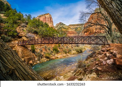 Wooden bridge and scenery in Zion National Park during winter