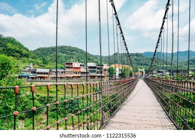 Wooden bridge and Shifen old town of Pingxi line in New Taipei City, Taiwan