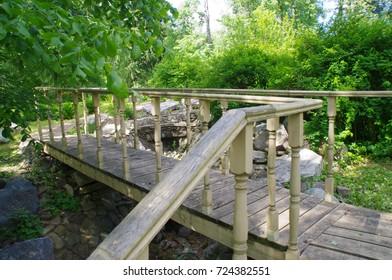 the wooden bridge, stairs, forest, Park, landscape