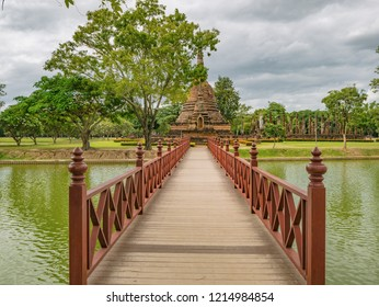 Wooden Bridge in sukhothai historical park,Sukhothai city Thailand