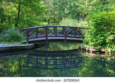 Wooden bridge in summer park