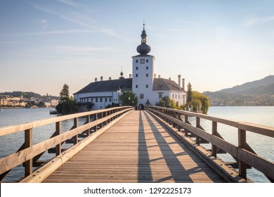 Wooden bridge to Traunsee castle at the morning, Gmunden