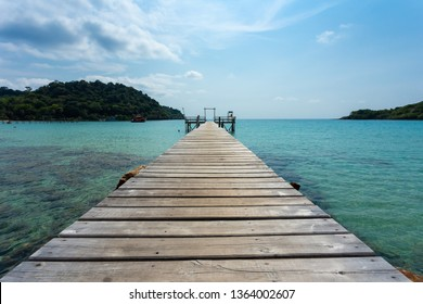 wooden bridge in tropical island beach Koh Kood, Trat Thailand