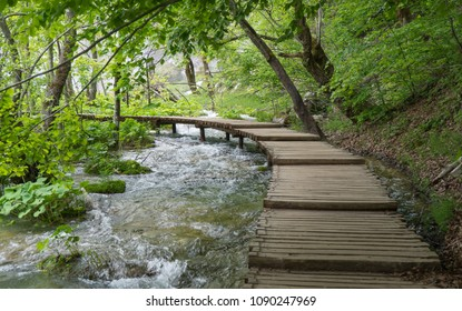 Wooden bridge to walk over the water in Plitvice Lakes National Park in Croatia