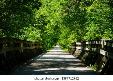 Wooden Bridge and Walking/Biking Path on MKT trail, Columbia Missouri