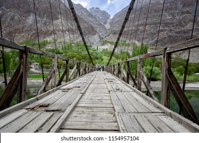 Wooden bridge or walkway with rock mountain background at HunZa,Pakistan