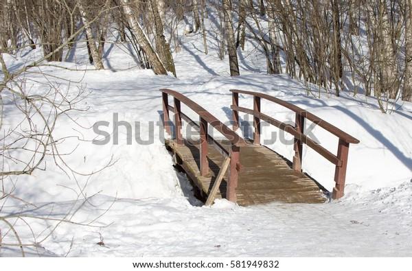 Wooden bridge in winter park