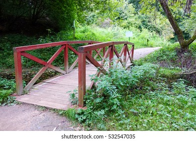 Wooden bridge in the woods