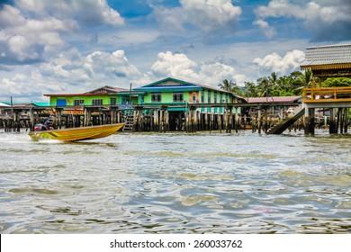Wooden Bridges and Colorful Houses of Water Village-Bandar Seri Begawan, Brunei