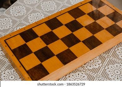 Wooden brown antique chess board closed