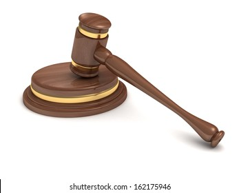wooden brown auction gavel and soundboard on white