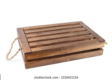 Wooden brown box with open lid on white isolated background