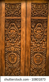 Wooden Brown Carved Door with symbols of Mexico Guadalajara Mexico