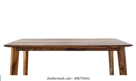 Wooden brown empty table on white background.