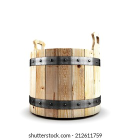 Wooden bucket for a bath isolate on white background. 3d render image.