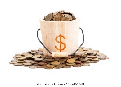 Wooden bucket and coins on white background.Time to invest, time value for money, family planning, money saving, finance saving and investment concept.