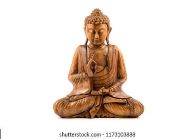 Wooden buddha statue on white background