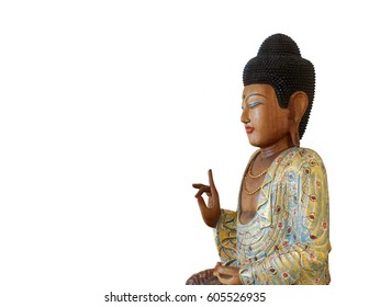 Wooden Buddha Statue, Sitting On a Lotus Flower Isolated On White Background.