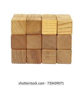 Wooden building blocks isolated on white background with clipping path