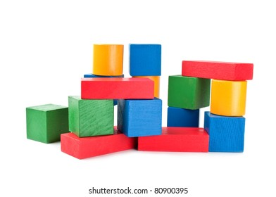 Wooden building blocks isolated on a white background