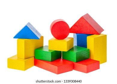 Wooden building blocks for kids isolated on white background.