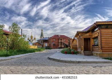 Wooden buildings at old town, Yakutsk, Russia.