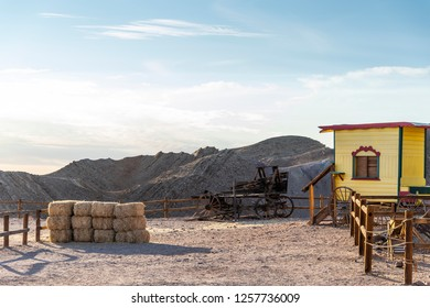 Wooden buildings on the streets of calico Ghost town. It was founded in 1881 for the extraction of silver. Located in the Mojave desert mountains in southern California. USA, November 2018