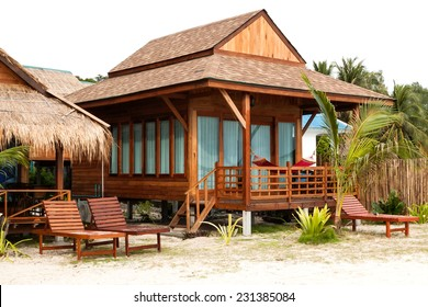 Wooden bungalow on beach