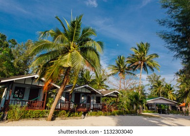 Wooden bungalows in hotel on a tropical beach