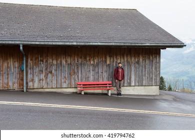 wooden bus stop alpine village