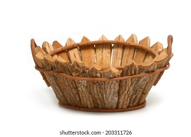 Wooden bushel ,empty basket
