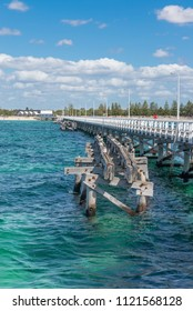 Wooden Busselton jetty in Western Australia - longest timber piled jetty in the southern hemisphere. And old jetty destroyed cyclone 1978 year