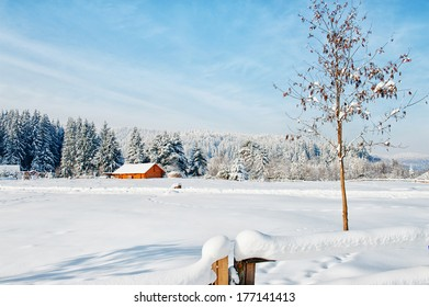 Wooden cabin in the mountains in the winter