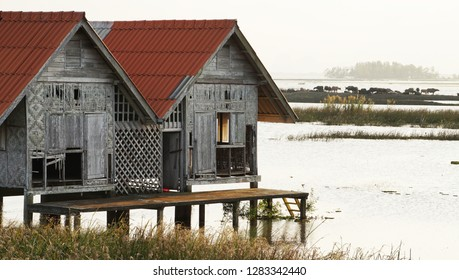Wooden cabin with water buffalos and lake view background, at Thale Noi Waterfowl Park, Phatthalung, Thailand.