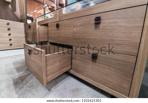 Wooden cabinet drawer box in bedrom luxury dressing room