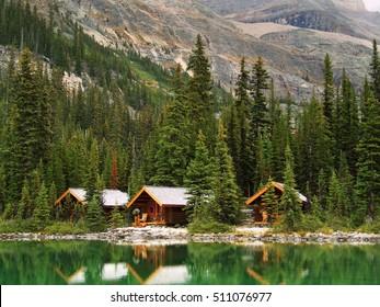 Wooden cabins at Lake O'Hara, Yoho National Park, British Columbia, Canada