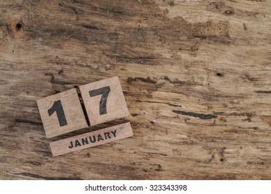 wooden calendar for january