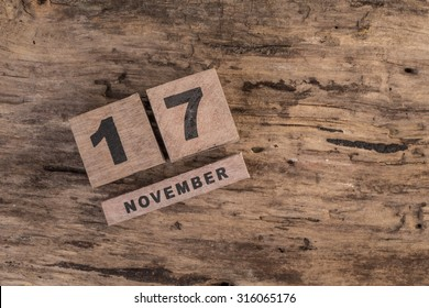 wooden calendar for november on wooden surface