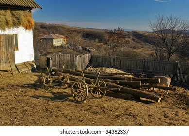 Wooden car in the country landscape