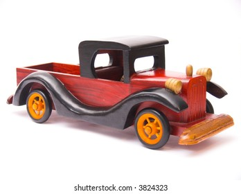 wooden car,  isolated on white background