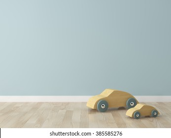 wooden car toy in the kids room Interior 3d rendering image